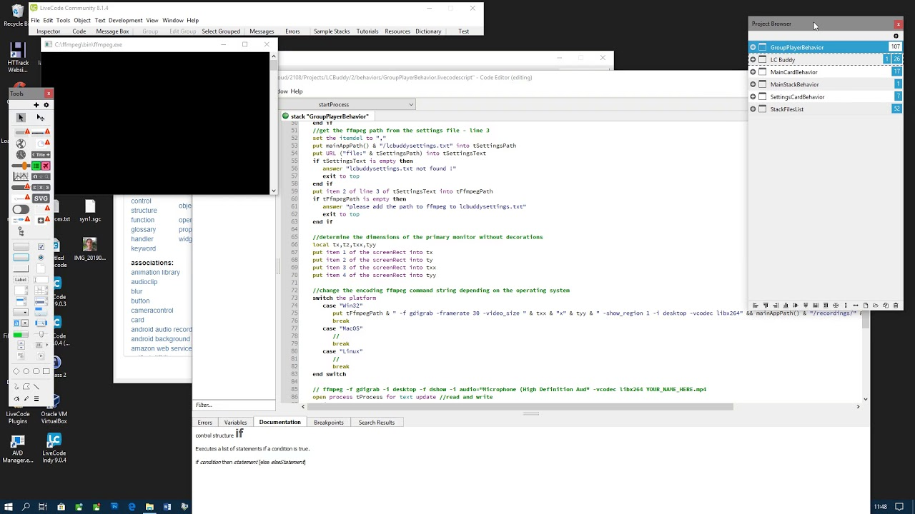 Test of screen recording in LC Buddy for LiveCode