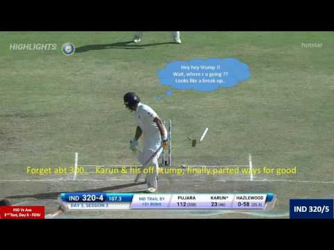 India Vs Australia 3rd Test Day 3 : Fall of Wickets