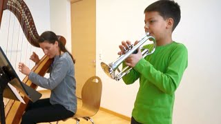 9 year old trumpet kid, triple tonguing thumbnail