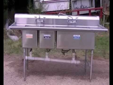 3 compartment sink stainless steel sink restaurant equipment youtube - Three Compartment Kitchen Sink
