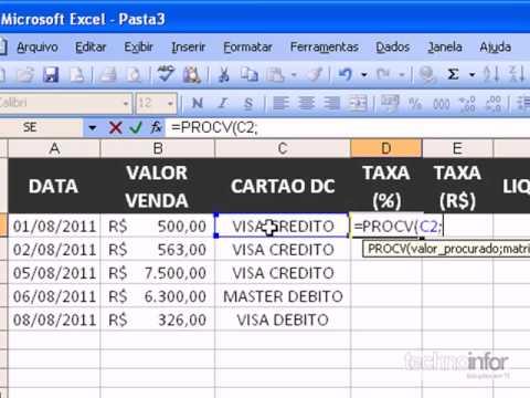 Aula 11 - Excel 2003 - FUNÇÃO PROC E PROCV