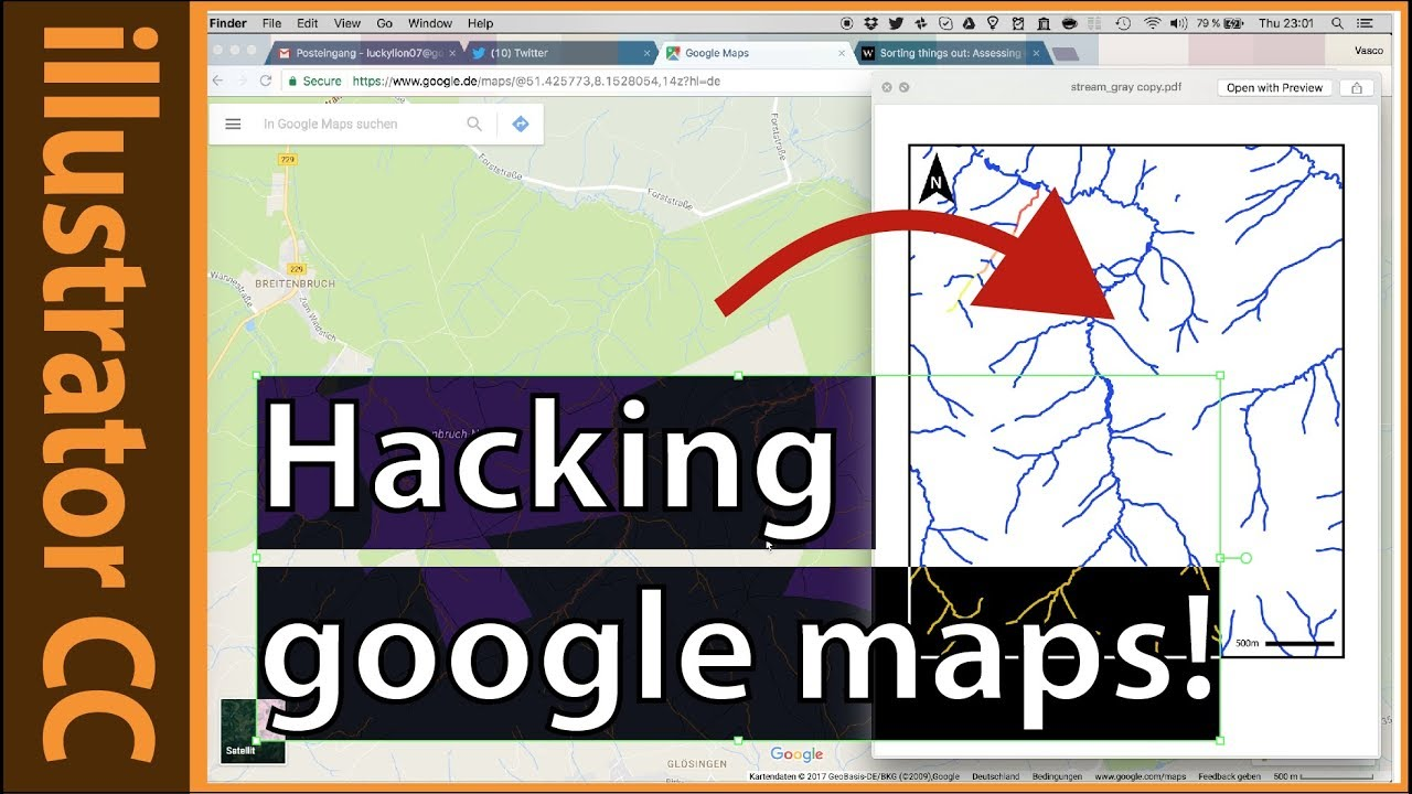 Extracting stream data from google maps with illustrator and ...