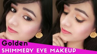 Golden Shimmery Eye Makeup|| Jazz Beauty World