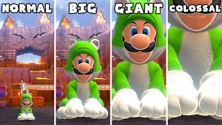 Bowser's Fury - Mini vs Small vs Big vs Giant vs Giga vs Colossal Luigi