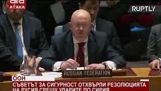 ООН.Съветът за сигурност отхвърли резолюцията на Русия срещу ударите по Сирия/16.04.2018 г./