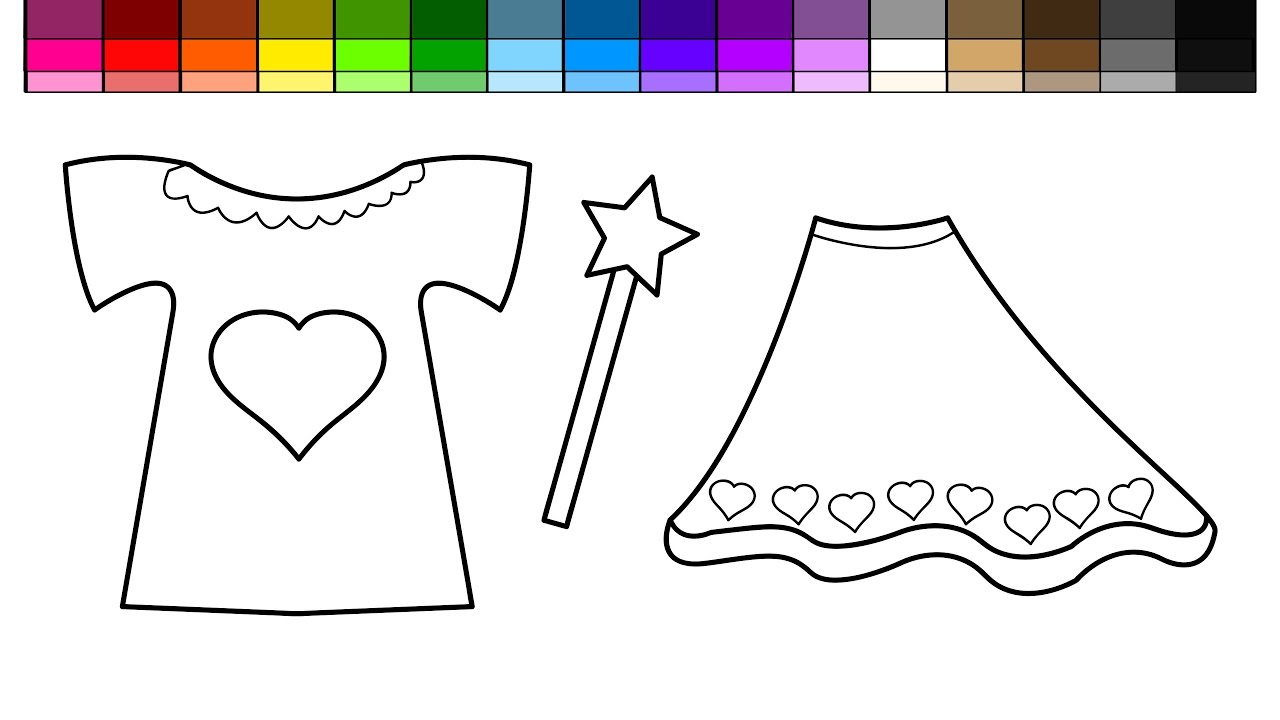 learn colors for kids and color tshirt and dress with magic wand coloring pages