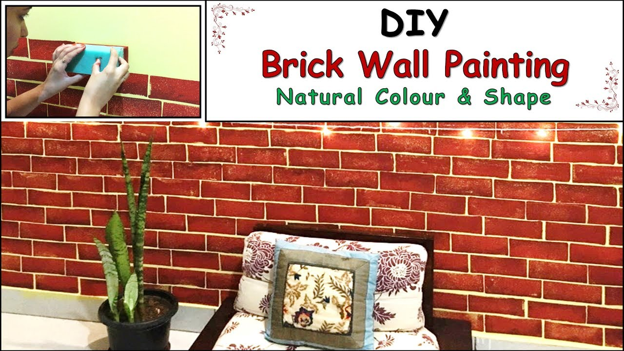 DIY Brick Wall Effect Painting | Diwali Wall Painting ... on Brick Painting Ideas  id=43454