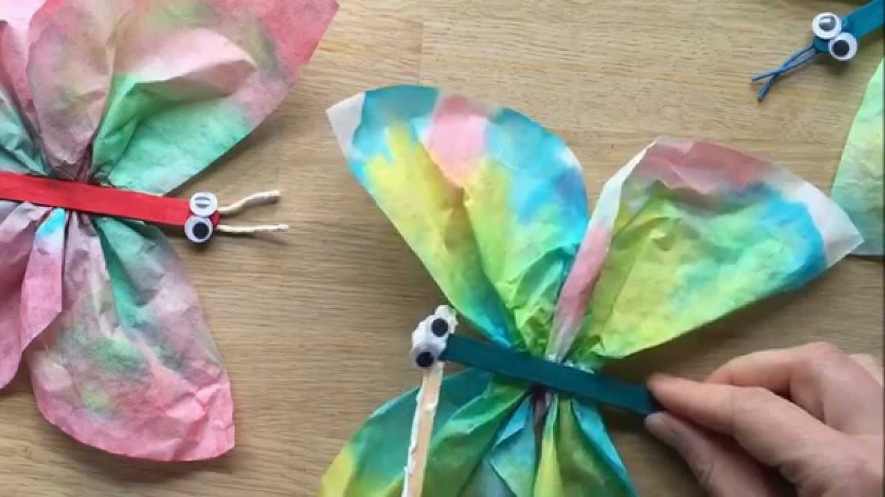Coffee Filter Butterflies Use Craft Sticks Pipecleaners Or Pegs