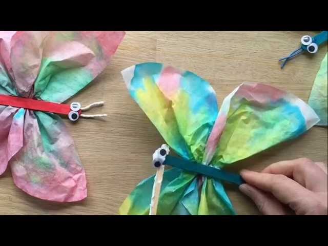 Coffee Filter Butterflies Use Craft Sticks Pipecleaners