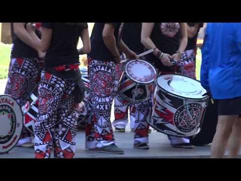 Batala drummers at the Barcelona marathon