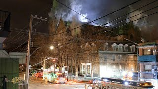 Montréal: Une église centenaire prend feu / Fire at beautiful 100 year old church 3-16-2019