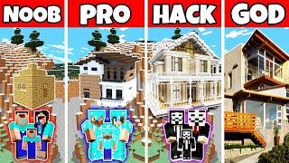 Minecraft Family Hill House Build Challenge - Noob Vs Pro Vs Hacker Vs God In Minecraft