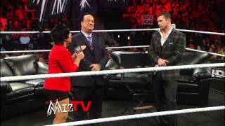"After Paul Heyman appears on ""Miz TV,"" Brock Lesnar attacks The Miz: Raw, Feb. 4, 2013"