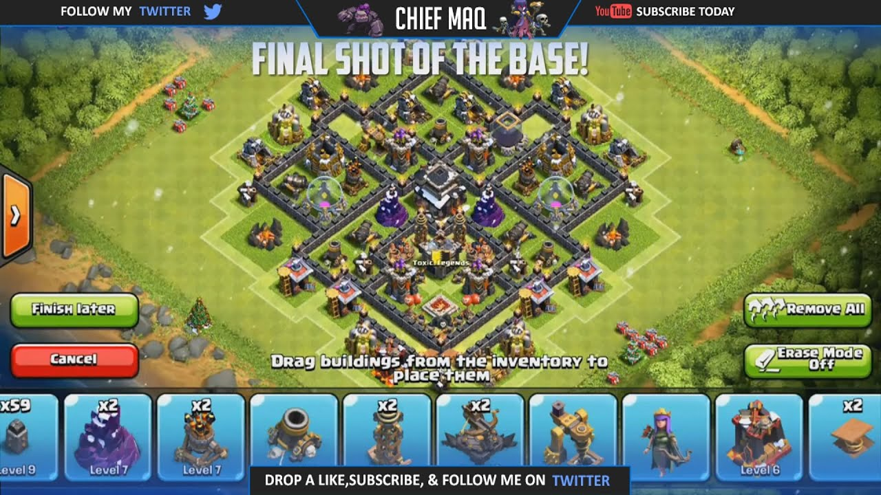 Clash of clans best town hall 7 trophy war base design th7 best