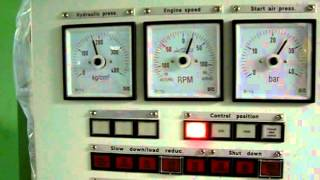 Container ship engine emergency astern (sea trails)
