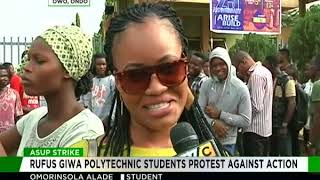 Rufus Giwa Polytechnic Students protest against ASUP Strike