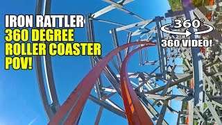 Iron Rattler 360 Degree Roller Coaster POV Six Flags Fiesta Texas Virtual Reality