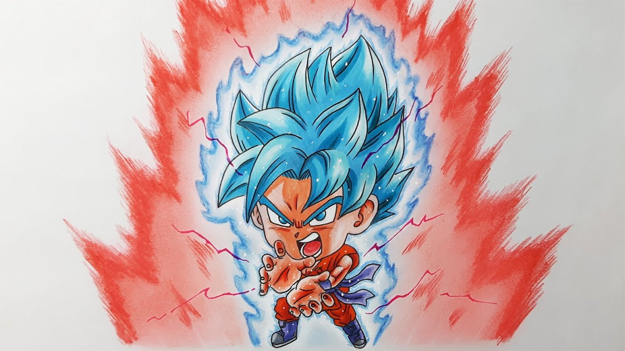 Drawing Chibi Goku Super Saiyan Blue kaioken x10 ...
