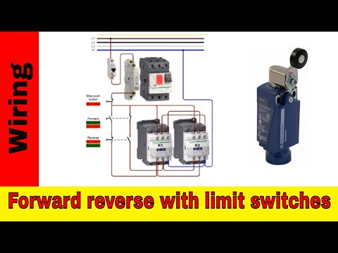 Forward reverse motor control wiring with limit switches ... on