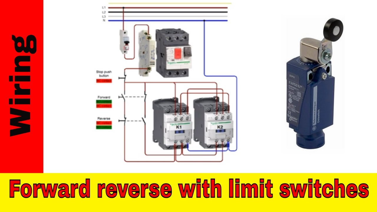 Forward reverse motor control wiring with limit switches