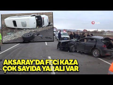 Aksaray'da Trafik Kazası; Servis Minibüsü ile Otomobil Çarpıştı