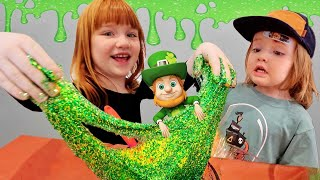 Leprechaun SLiME TRAP The Movie!! Adley & Niko make hidden pots of gold for St Patrick's Day crafts