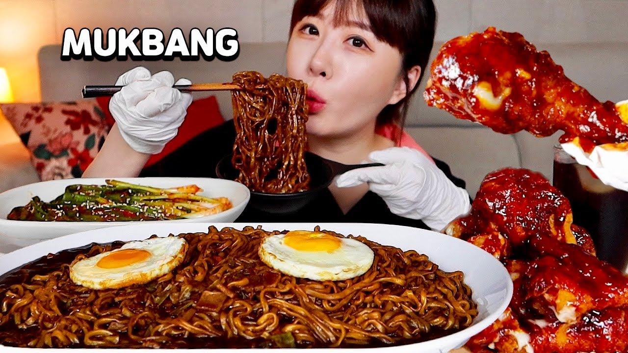 직접 담근 알싸한 파김치에 촉촉한 짜왕 건면 4봉지⭐️처갓집 핫 슈프림 양념치킨과 함께 먹방!! Jjajangmyeon, Spicy Chicken MUKBANGㅣASMR