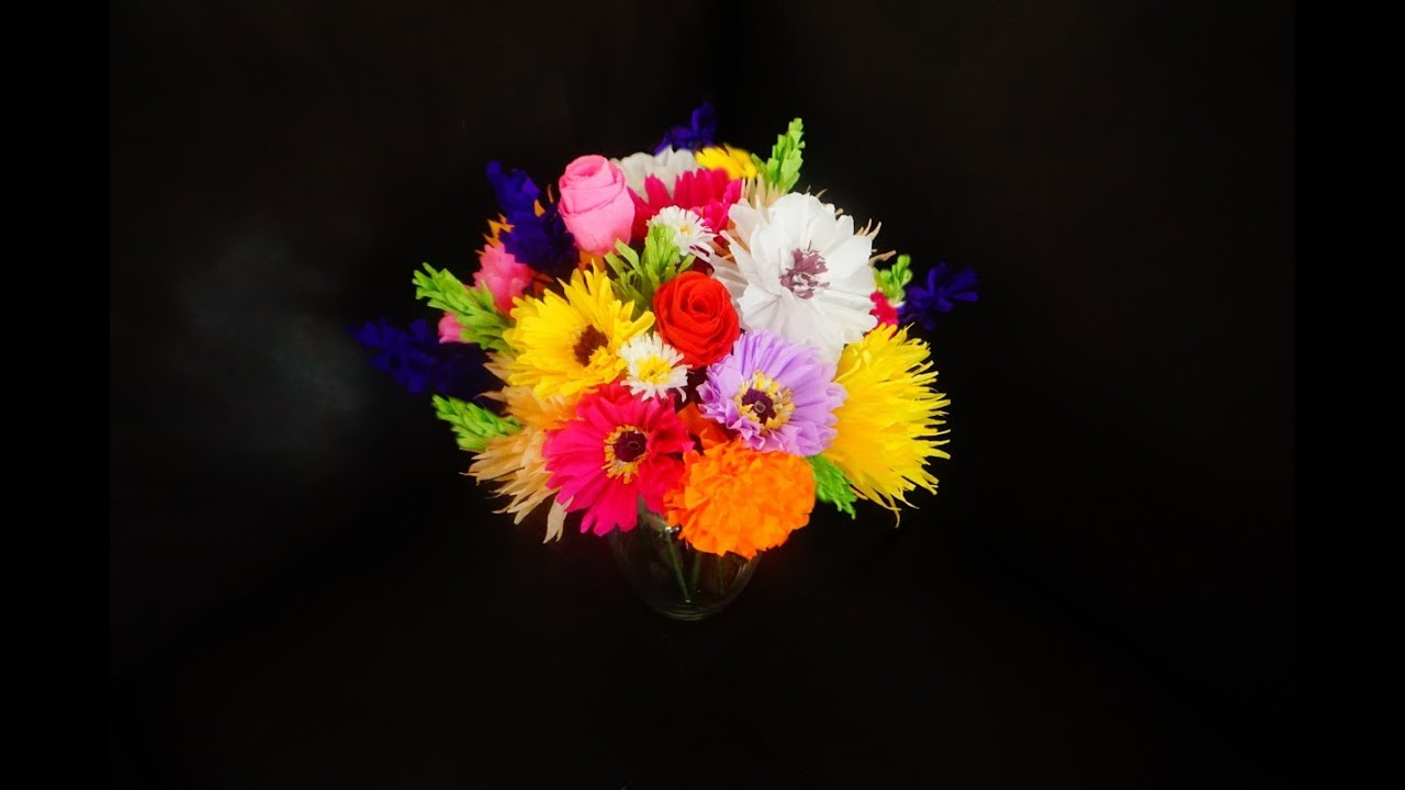 How To Make Colorful Crepe Paper Flower Bouquet 7 Types Of Flowers