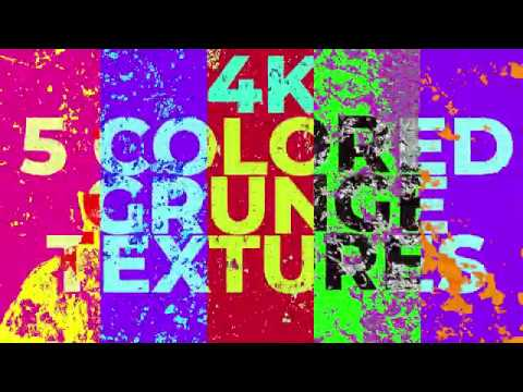 5 Colored Grunge Animated Textures in 4k / Colorful Overlay Footage Pack