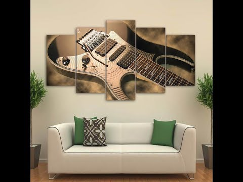 5 Pieces Abstract Black White Silver Guitar Canvas Wall Art Home Decor With Frame Vintage