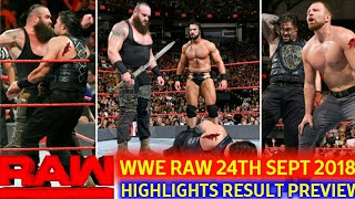 WWE Monday Night Raw 24th September 2018 hindi highlights preview - The Shield vs Braun's Team