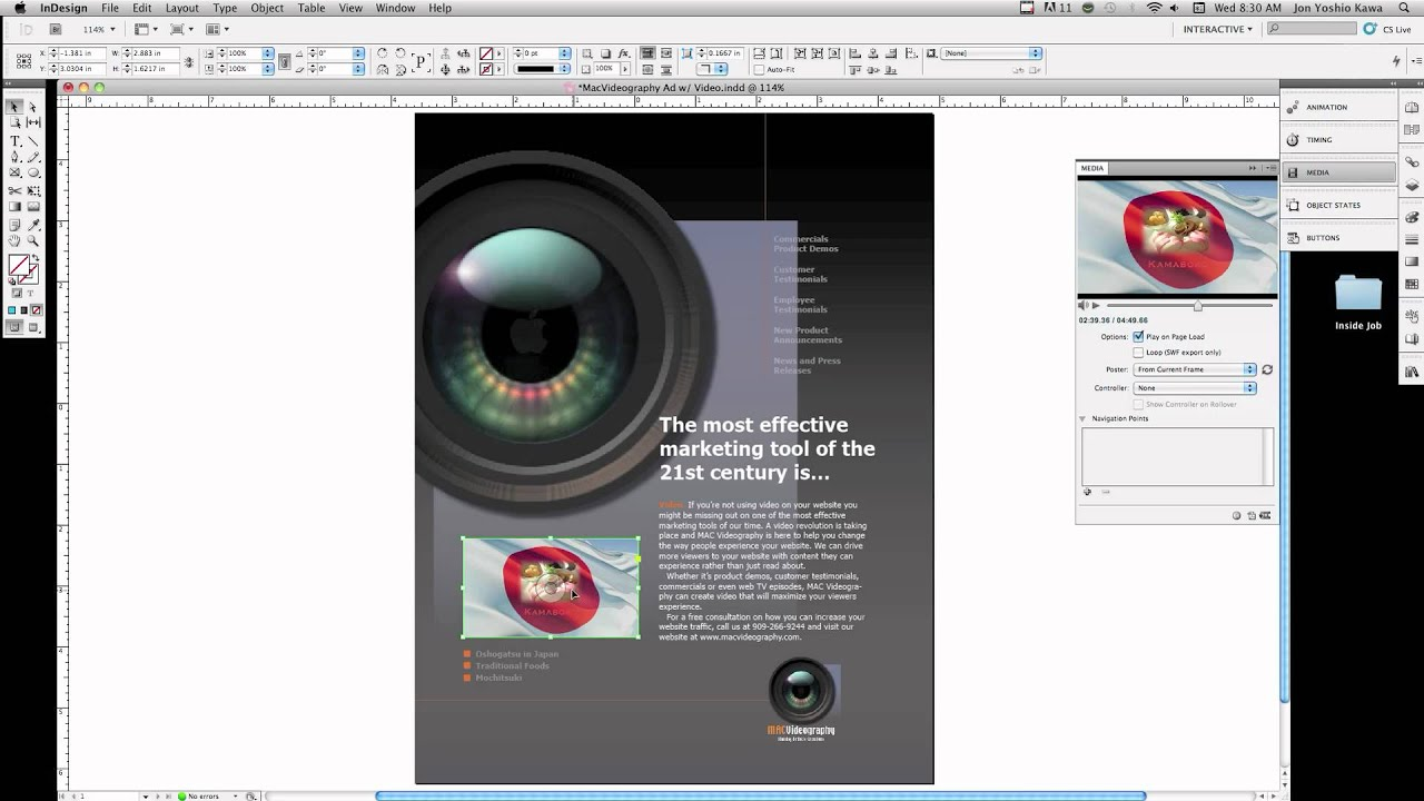 how to add a video on indesign