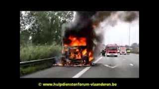 Vrachtwagenbrand op E17 te Temse