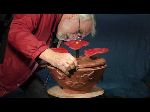 """Hummingbirds Bathing in the NEW """"Tabletop Floral Fountain"""""""