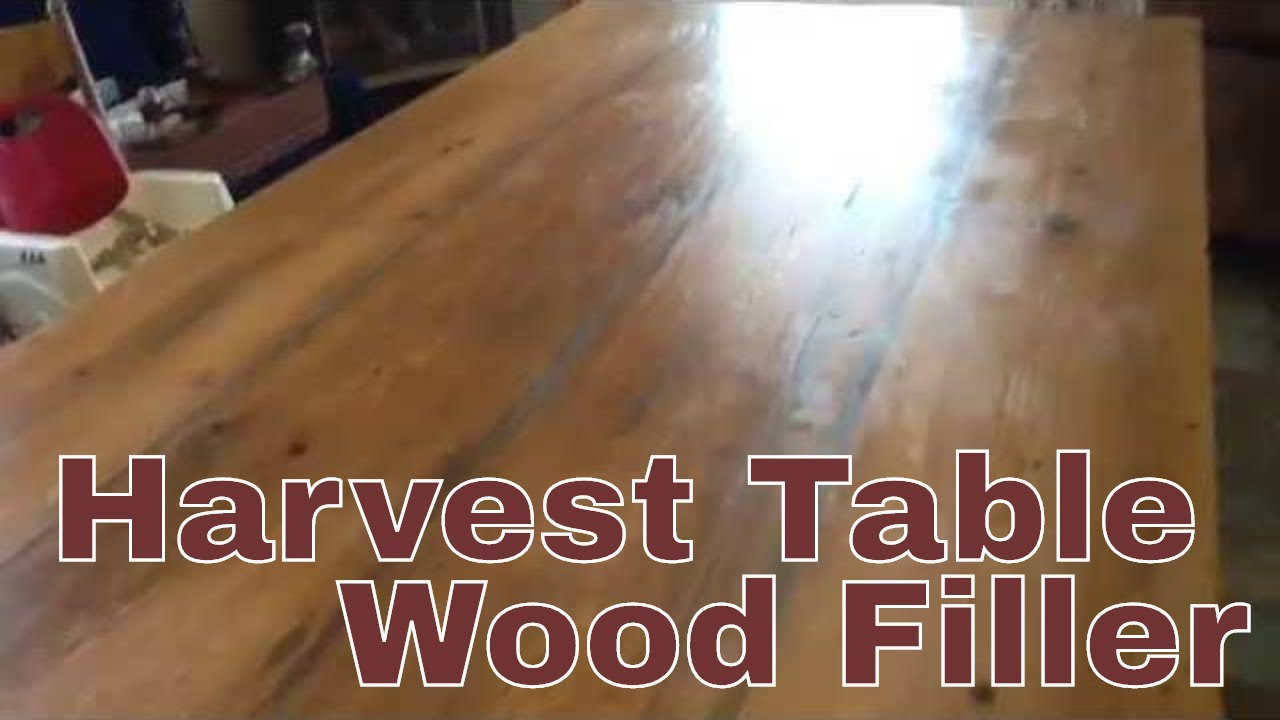 Harvest Table Wood Filling   Fixing Cracks Due To Low Humidity   YouTube