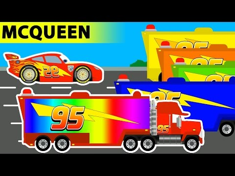 Learn Colors with Disney Pixar Mack Trucks and Disney Cars Lightning McQueen Cars 3 - Video for Kids