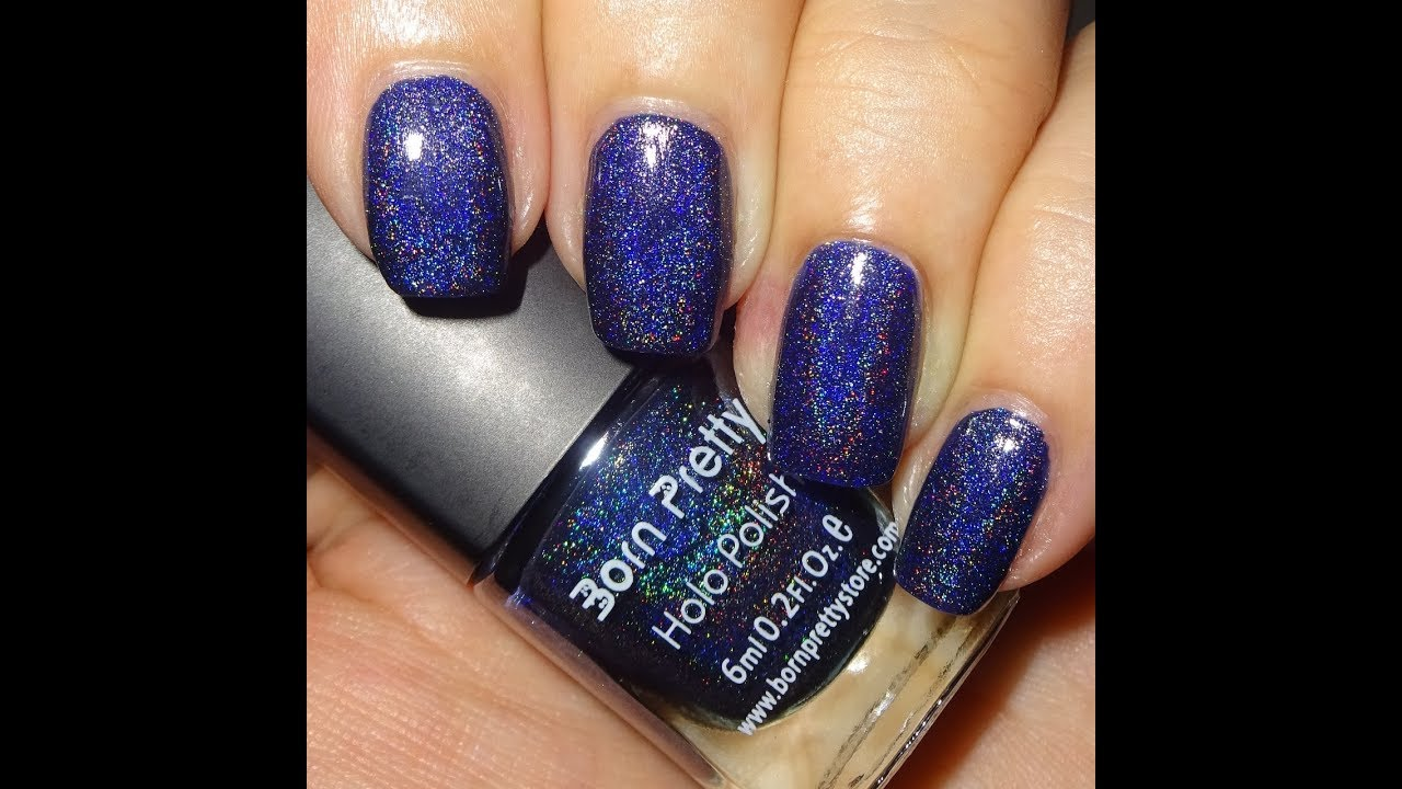 Born Pretty Holographic Nail Polish - Navy Blue - YouTube