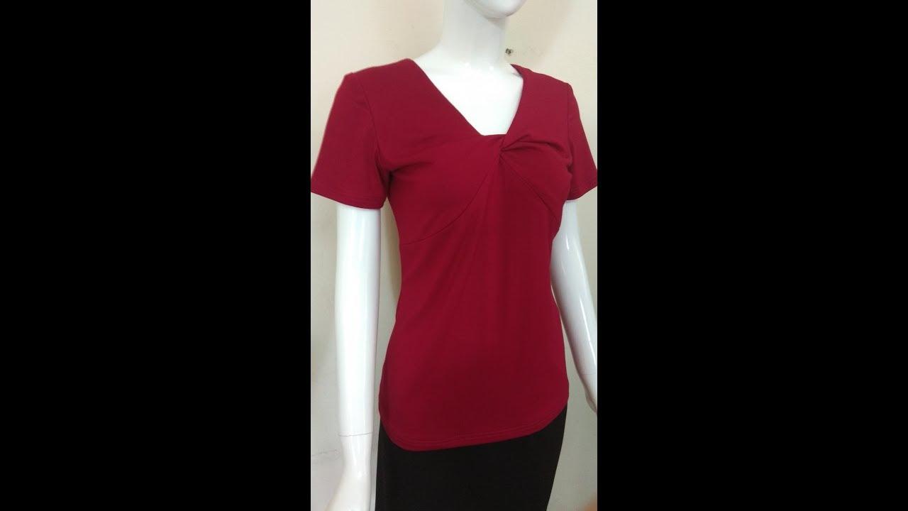 dạy cắt may, Hướng dẫn cắt may áo thun cổ xoắn (kiểu 2)- Part 1. How to cut shirts for women.
