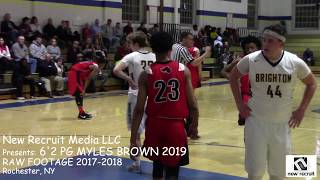 New Recruit Media LLC presents: 6'2 PG Myles Brown 2019, RAW FOOTAGE Section V 2018