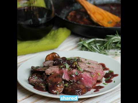 Flank Steak with Mushrooms & Red Wine Sauce