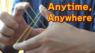 Easy! rubber band magic trick. Crazy Man's Handcuffs. 【YouTube】h...
