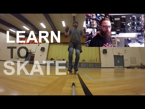 How to Rollerblade - First time on Inline Skates - BASIC STRIDE ON INLINE SKATES