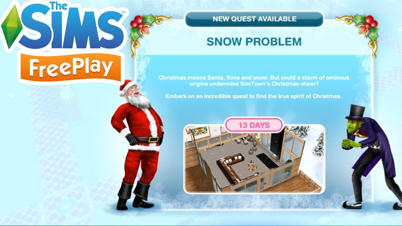 The Sims Freeplay: Snow Problem Quest- Walkthrough! | Christmas 2017 Update!