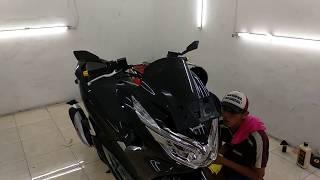 Proses Coating Honda PCX 150 Hitam dengan SIO5 Nano-Ceramic