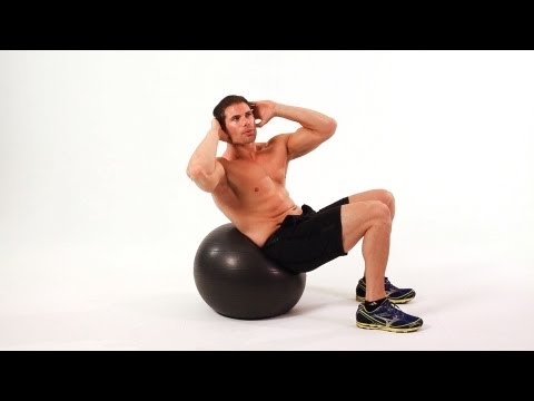 Swiss Oblique Crunch on Exercise Ball  Ab Workout