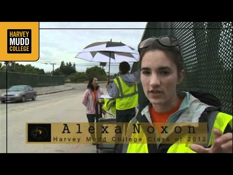Harvey Mudd College engineering students test bridges