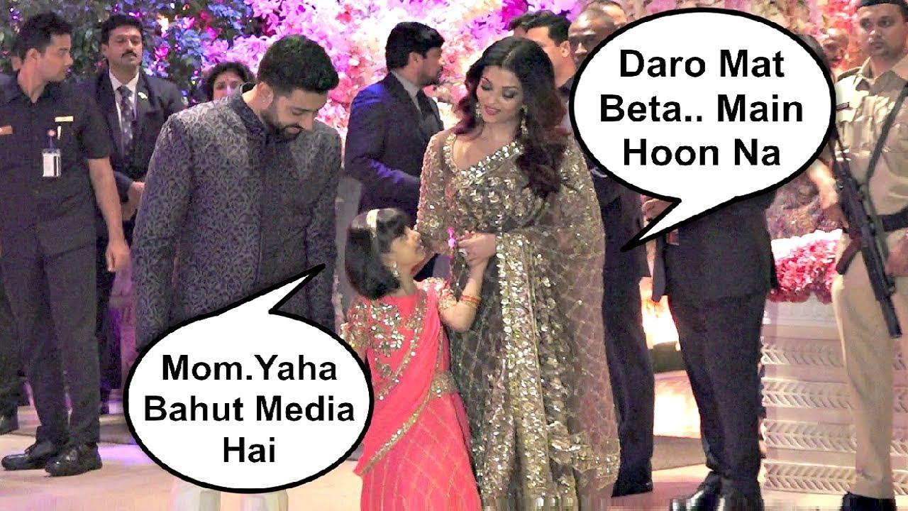 Aishwarya Rai And Abhishek Bachchan With Aaradhya At Akash Ambani - Shloka Mehta Engagement Party