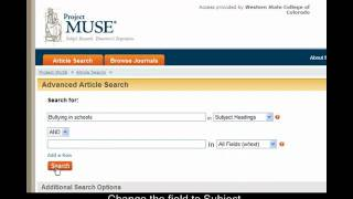 Searching Project MUSE with Library of Congress Subject Head