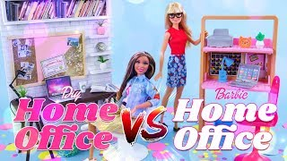 VERSUS: Barbie Home Office Play Set VS DIY Home Office Play Set PLUS Unboxing