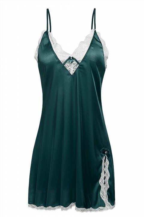 814050ef5c7e Ekouaer Sexy Sleepwear Women s Satin Lace Sleep Dress Nightshirt ...